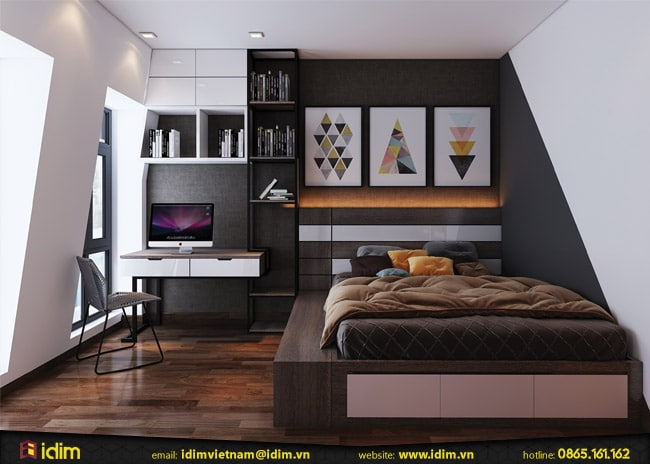 Thiết kế nội thất phòng ngủ đẹp đơn giản 12m2